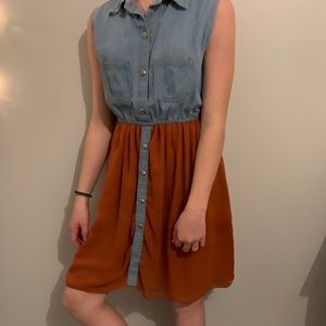 Woman's Fall Denim and Rust Colored Dress